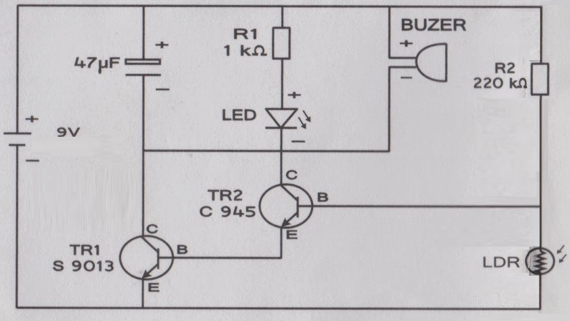 basic mini project  ldr sensor with output led and buzzer