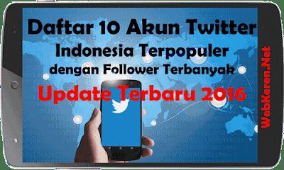 Daftar 10 Akun Twitter Indonesia Terpopuler dengan Follower Terbanyak Terbaru 2016