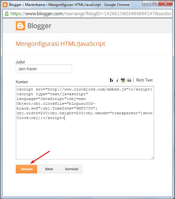 Cara Memasang Widget Keren Jam Di Blog