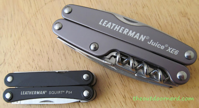 Leatherman Juice XE6 Multi-Tool Shown With Squirt PS4 Multi-Tool