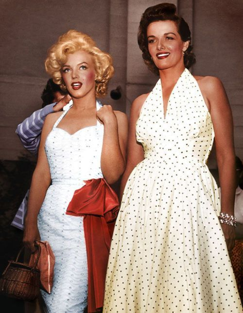 Marilyn Monroe with Jane Russell in white dresses