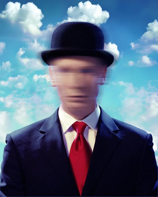 John Dobson self-portrait magritte pastiche