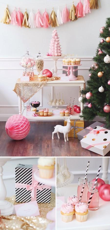 semplicemente perfetto party natale tavola rosa oro