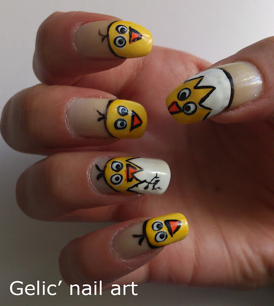 gelic' nail art easter chicken