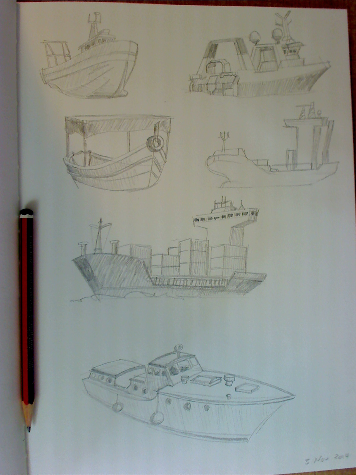 Sketchbook drawings of boats