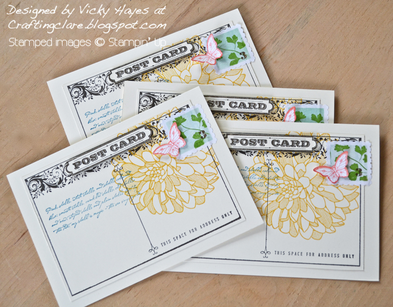 Stampers 6 club cards stamped with Postcard and Regarding Dahlias by Stampin Up