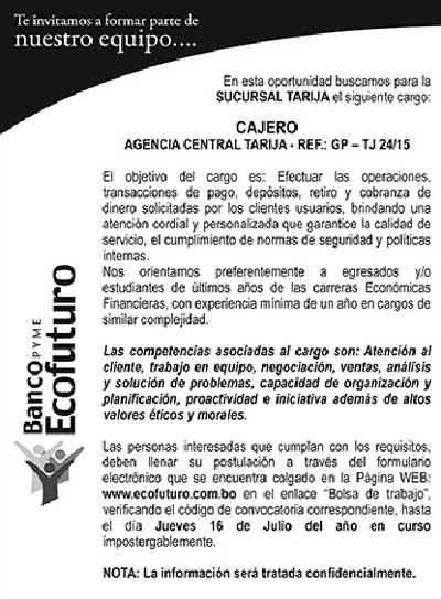 Banco Ecofuturo precisa de un Cajero para sucursal Tarija