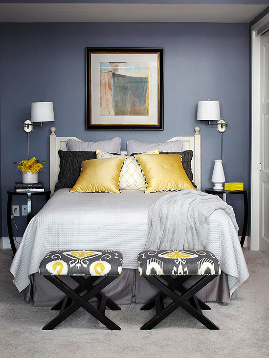 Yellow and Grey Bedroom Color Scheme