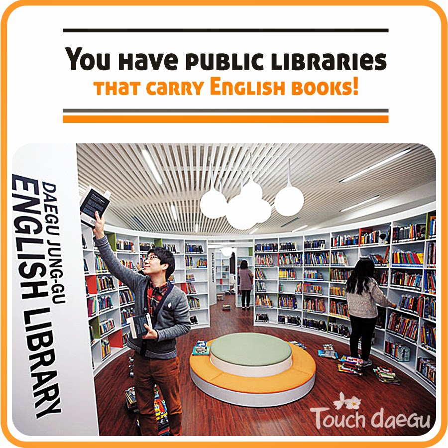 The public libraries that carry English books in Daegu