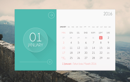 Download Flat Desain Template Kalender 2016 Gratis