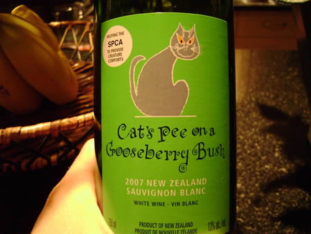 Cat's Pee on Gooseberry Bush Sauvingnon Blanc from New Zealand
