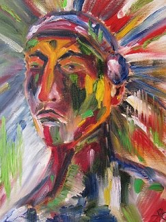 """Atsila"" meaning fire in Cherokee SOLD!  Prints available at Sandra-Cutrer.artistwebsites.com"