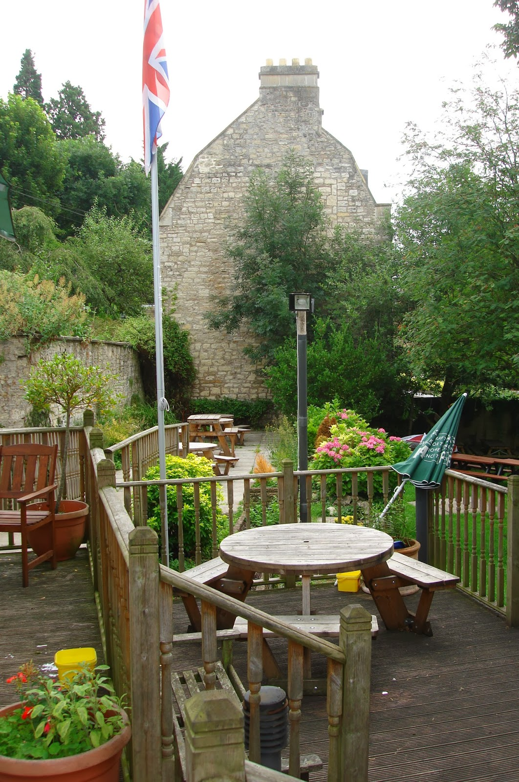 Old Crown Pub, garden, Weston, Bath, UK