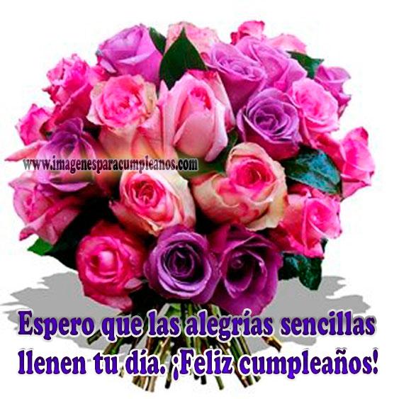 Feliz Cumpleaños con Rosas y Orquídeas Postales con  - Imagenes De Flores Para Cumpleaños Gratis