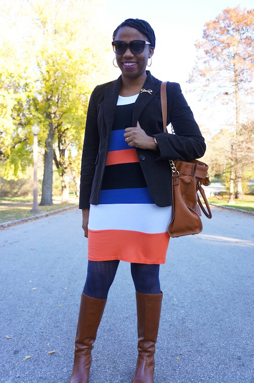 Brown Corduroy Blazer & Colorblocked Dress