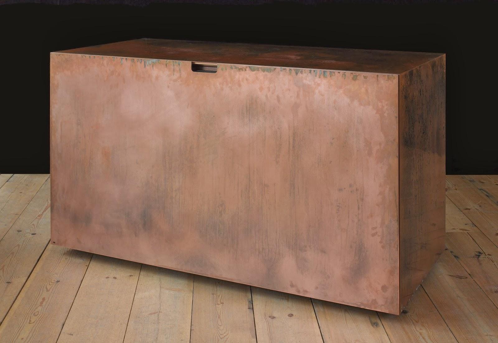 copper and walnut desk
