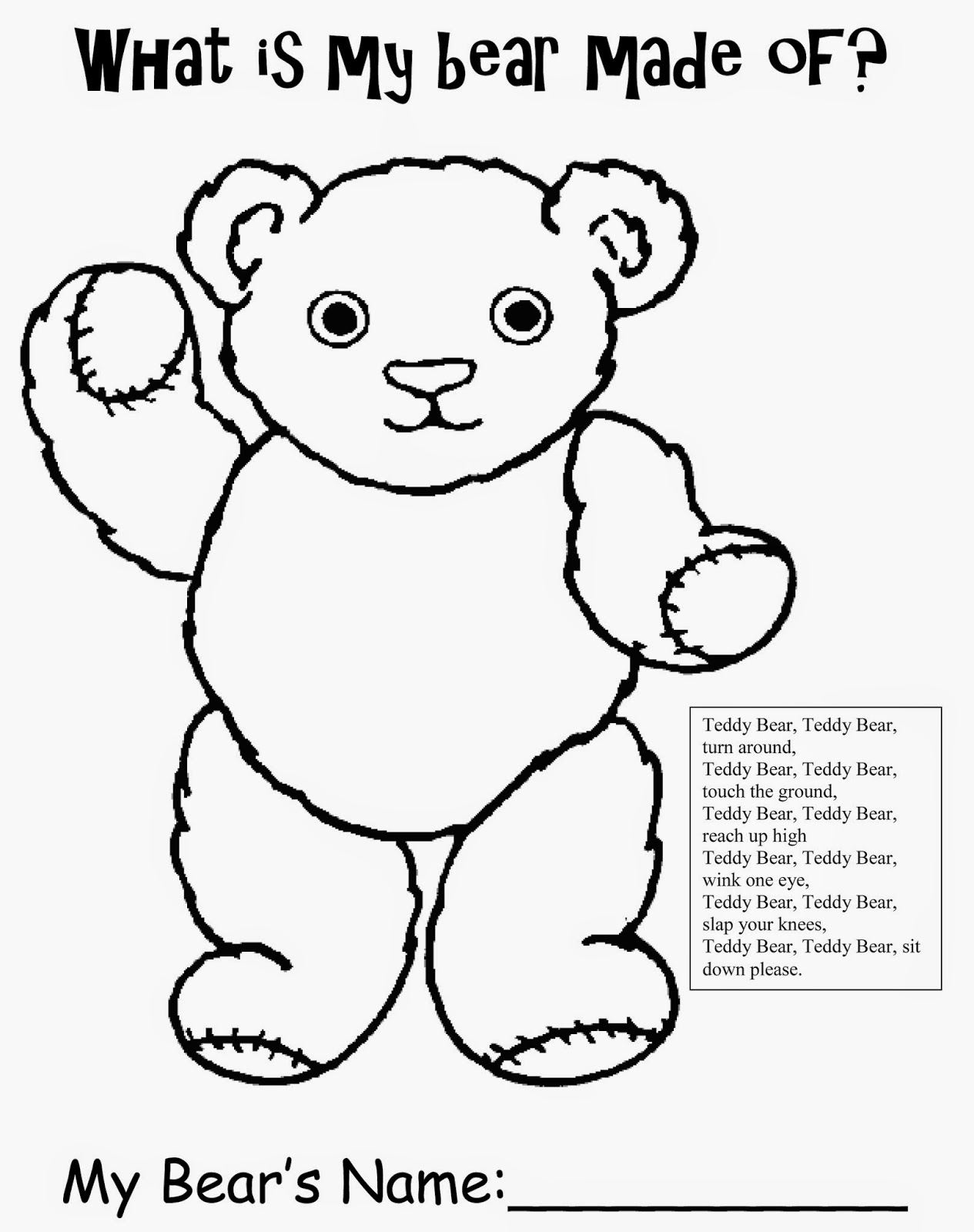 worksheet Teddy Bear Worksheets inspiration organization wheres my teddy free worksheet what is bear made of printable
