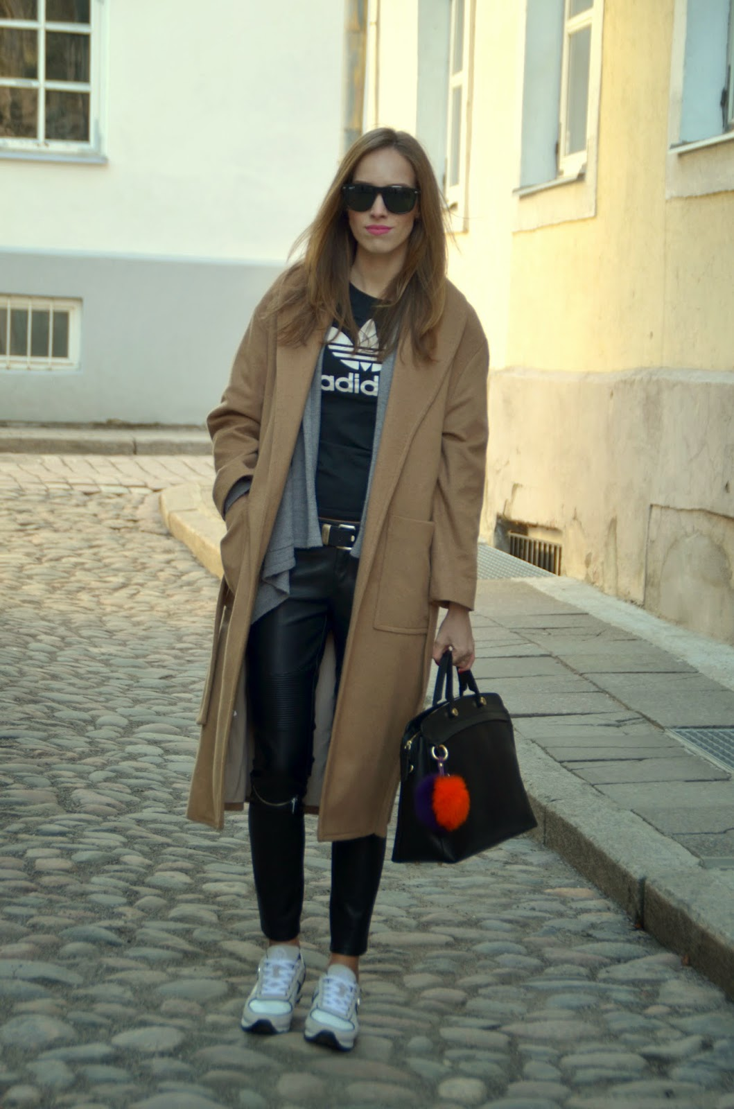 adidas-tshirt-zara-leather-pants-mango-camel-coat