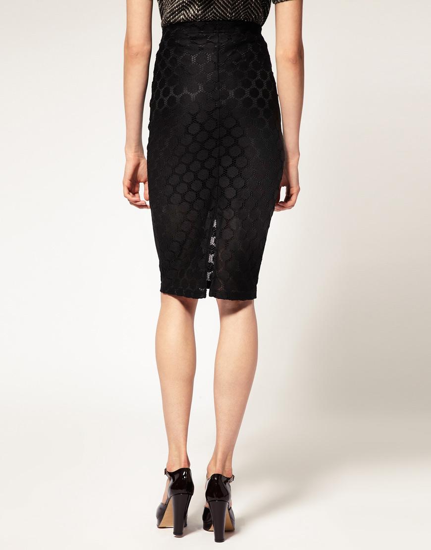 lush doodles asos circle lace pencil skirt