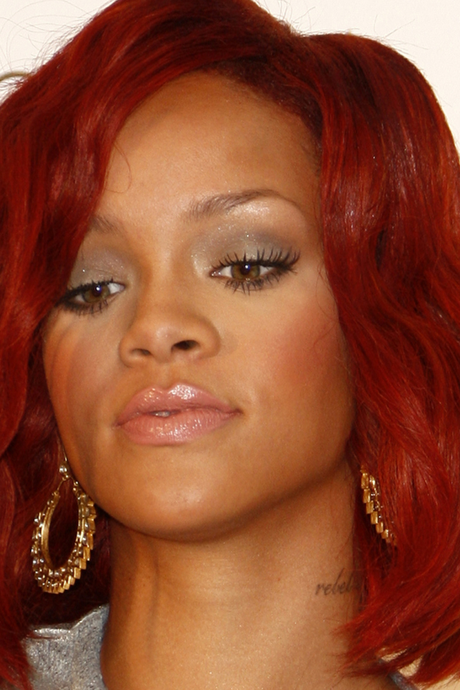 rihanna pics with red hair. rihanna red hair red dress.