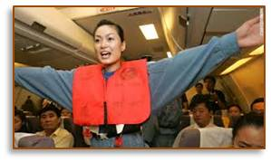 Airplane safety guidelines, flight attendant