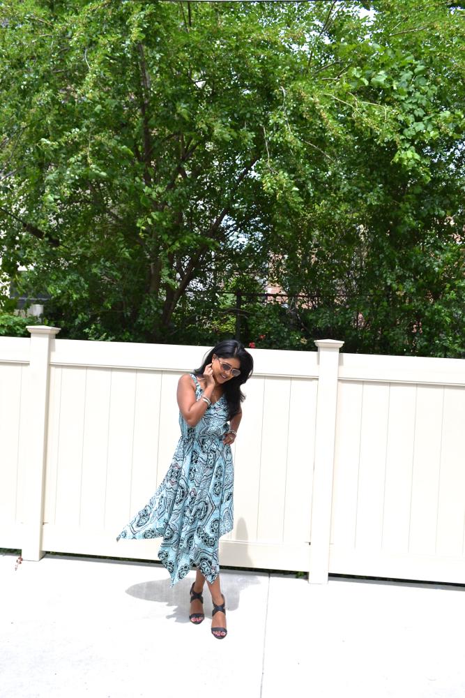 H&M dress scarf print dress just fab shoes