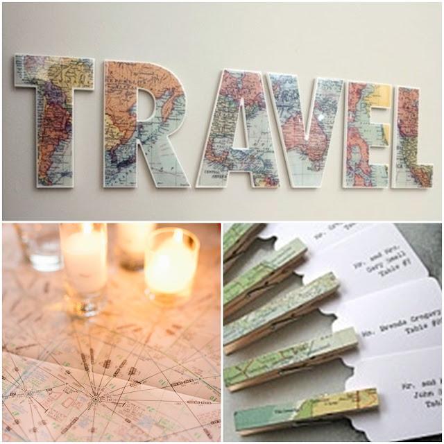 Estilo boda para parejas viajeras for Mesa cristal mapamundi