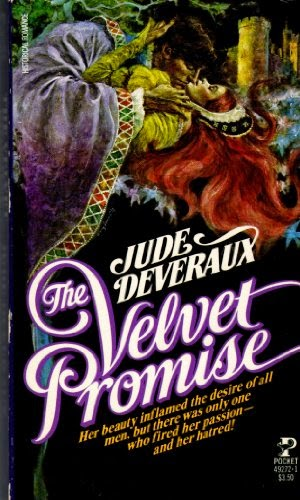 Cover description: old-school cover featuring a drawing of a man wearing a purple robe kissing a red-haired woman wearing a yellow dress.