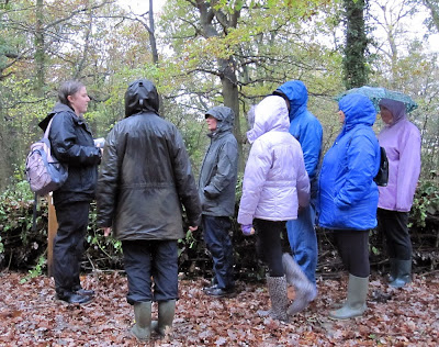 Jenny Price addressing a group in Jubilee Country Park - in the rain