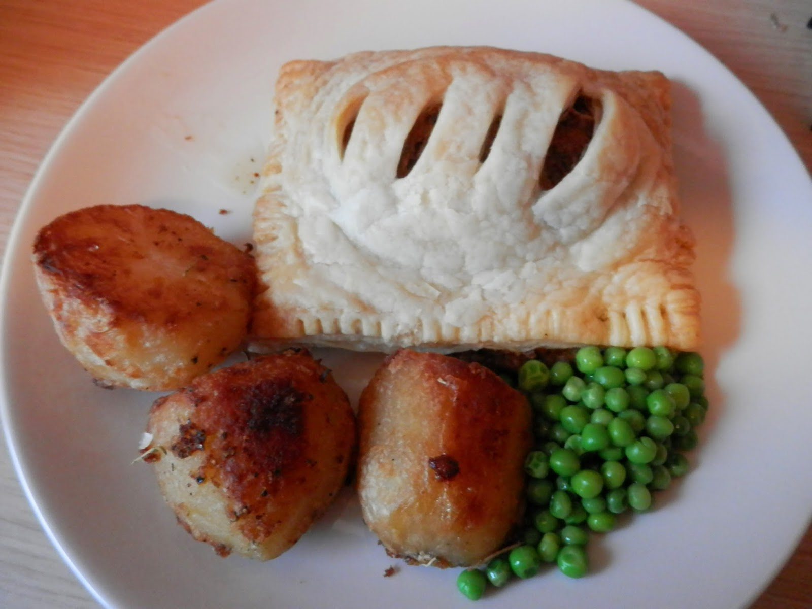 What do vegans eat? vegan wellington, it's made from Linda McCartney Sausages, blended with herbs, shaped into a little loaf shape, covered in mushrooms, vegan pate and puff pastry