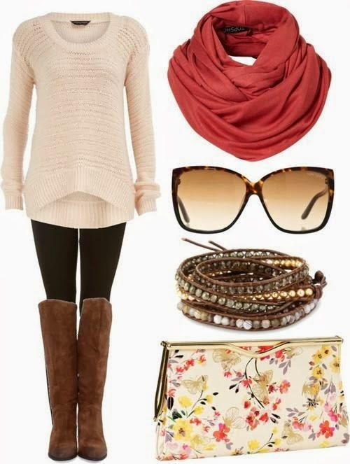Fashionable, White Sweater with Black Panty Stockings, Leather, Brown, Long Boots, Red Circle Scarf, Accessories and Stylish, Flower Patterned Clutch Bag, Love It