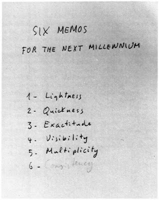 Six Memos for the Next Millenium, Italo Calvino, title page
