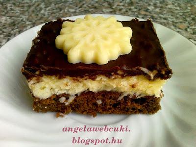 Kókuszos kocka, kakaós tésztával, kókuszos krémmel, étcsokoládés mázzal a tetején, kókuszreszelékkel vagy csokoládédísszel díszítve.