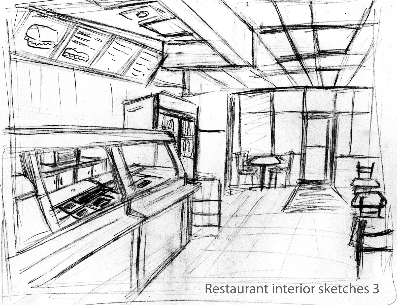 how to draw the inside of a diner