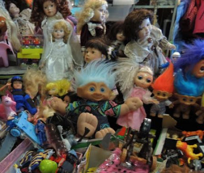 Trolls, Victorian dolls and plastic toys for sale