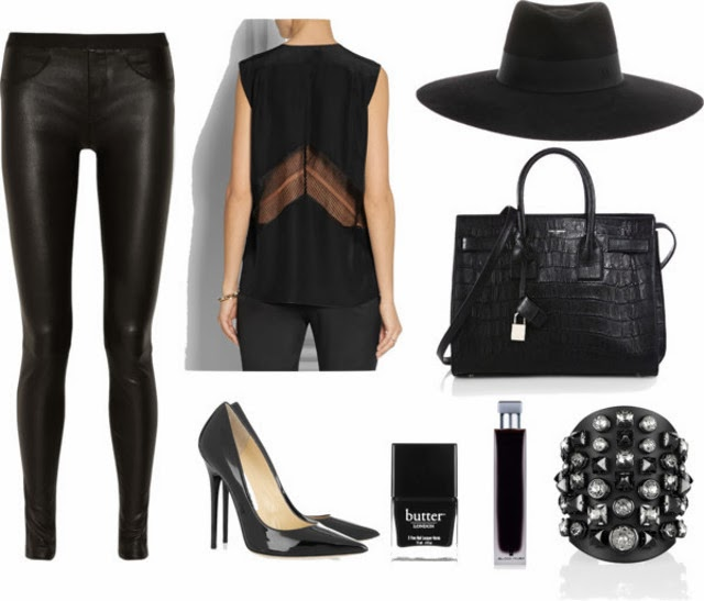 all black outfit. black-on-black. dark glamour. Helmut Lang Leather Pants/Victoria Beckham Lace-trimmed Silk Top/Jimmy Choo Anouk Pumps/Saint Laurent Tote/Gucci Embellished Cuff/Maison Michel Fedora/Henri Bendel Perfume/Butter London Black Nail Polish