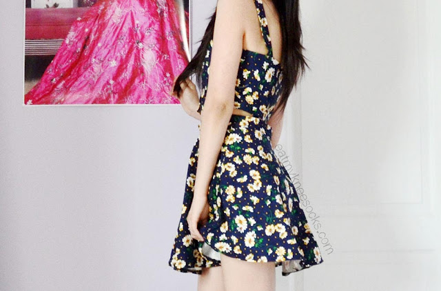 Pair SheIn's navy floral suspender cutout skater dress with cute booties or wedge sandals for a flirty summer outfit/OOTD.