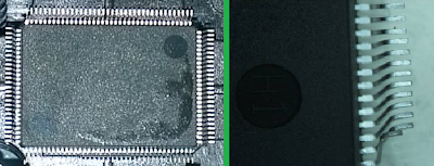 Left - contamination on back of device. Right - pin damage to device.