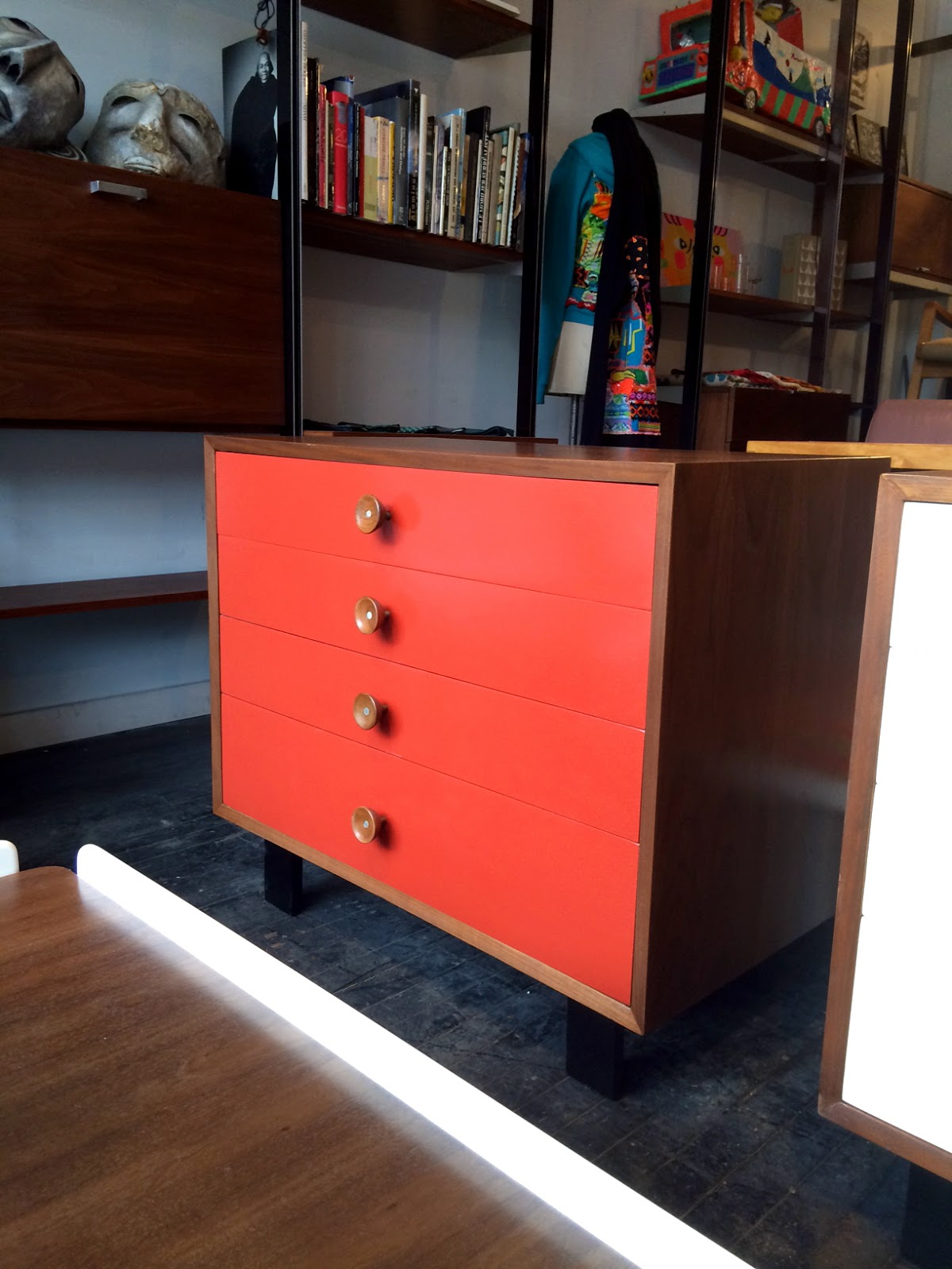 A Few New Things Arrived At The Shop   2 George Nelson Walnut Cabinets  Designed In 1948 For Herman Miller, One White, One Red; A Pair Of Florence  Knoll ...