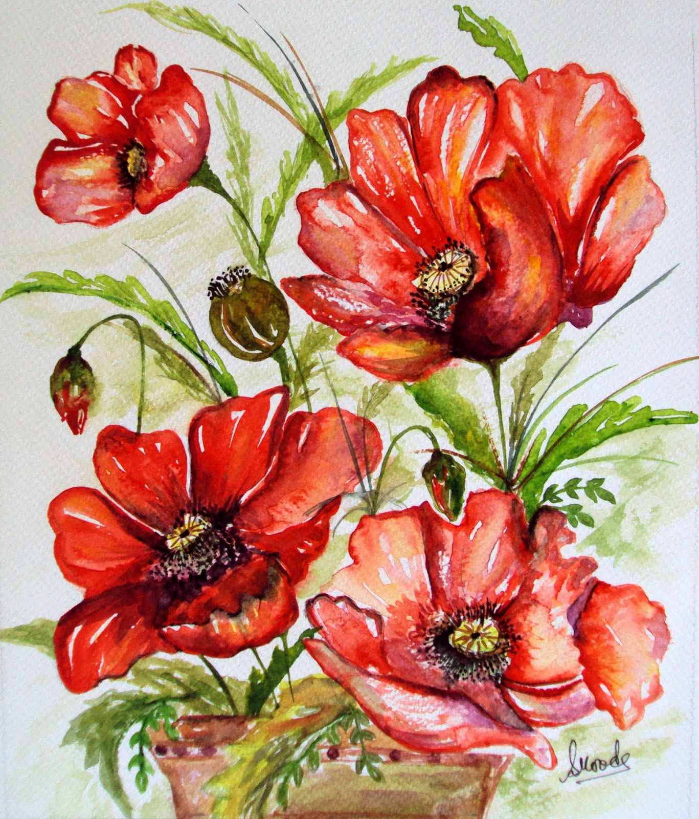 watercolor, floral, painting, red, flowers, poppies, handpainted, art, nature