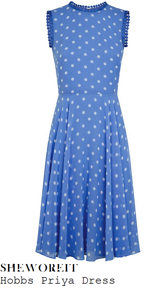 amanda-holden-blue-white-polka-dot-sleeveless-dress-this-morning