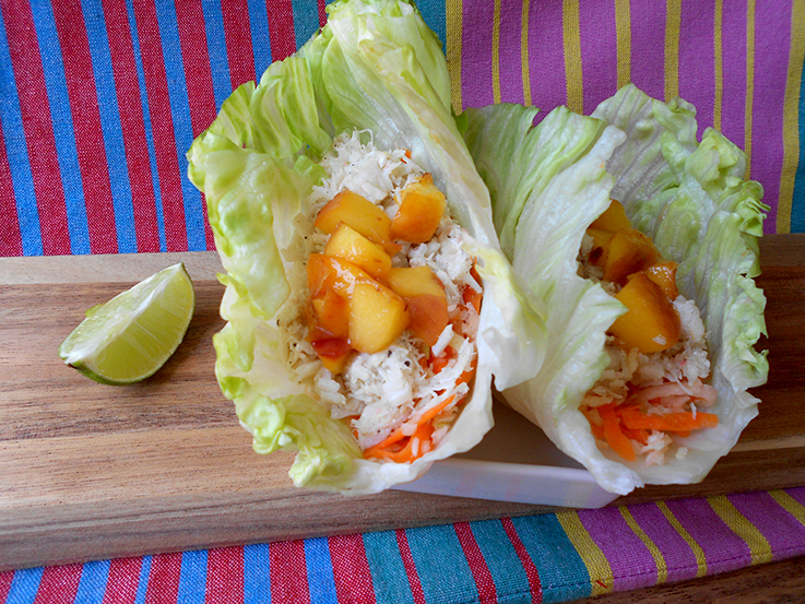 Summer Fish Tacos with Grilled Peaches