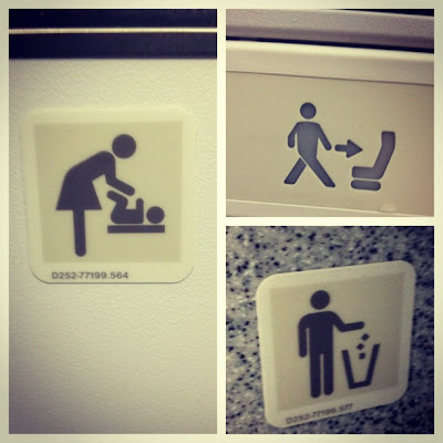 Three human icon signs, one for diaper changing with a skirted figure, two with no skirt for sit in chair and throw away trash