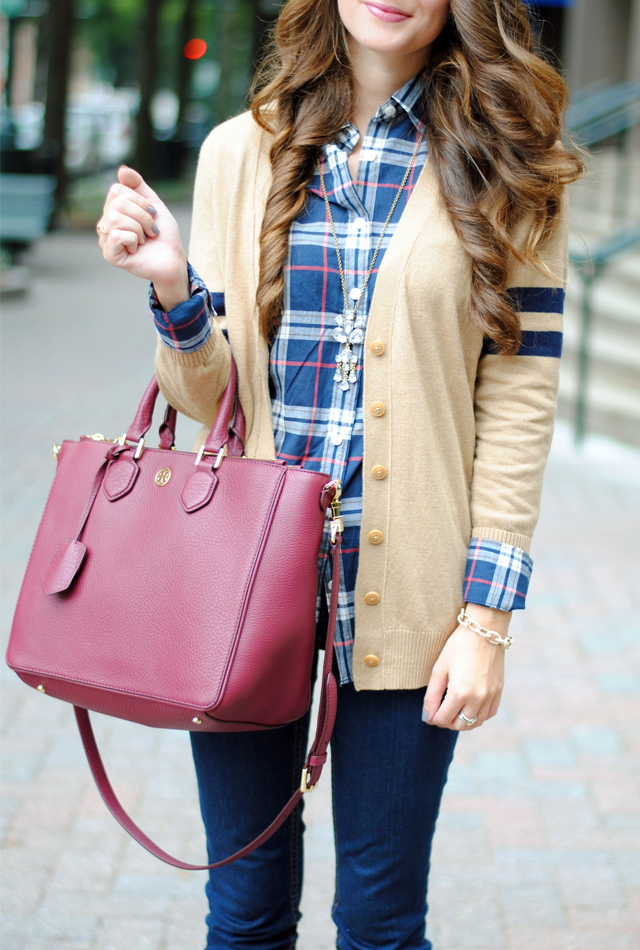 Plaid button-up with camel cardigan