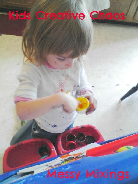Mixing paint is great for fine motor skills and sensory learning.