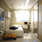 O quarto pequeno com motivos mais femininos. Ops! mas e o espaço do criado .