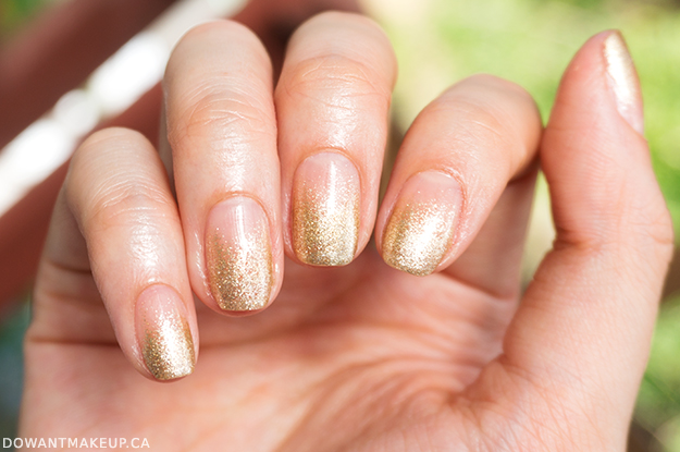 Nude gold gradient bridesmaid nails