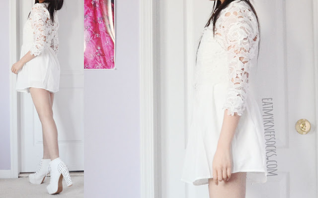 An all-white, elegant, dolly, angelic outfit featuring SheIn's mock neck crochet lace sheer floral romper and spiked studded Jeffrey Campbell Lita dupe platform booties.