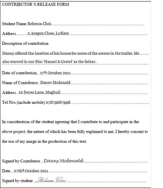 A2 Advanced Portfolio Blog: Contributor's Release Form