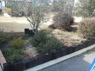 枕木 施工例 公園 土留め 花壇